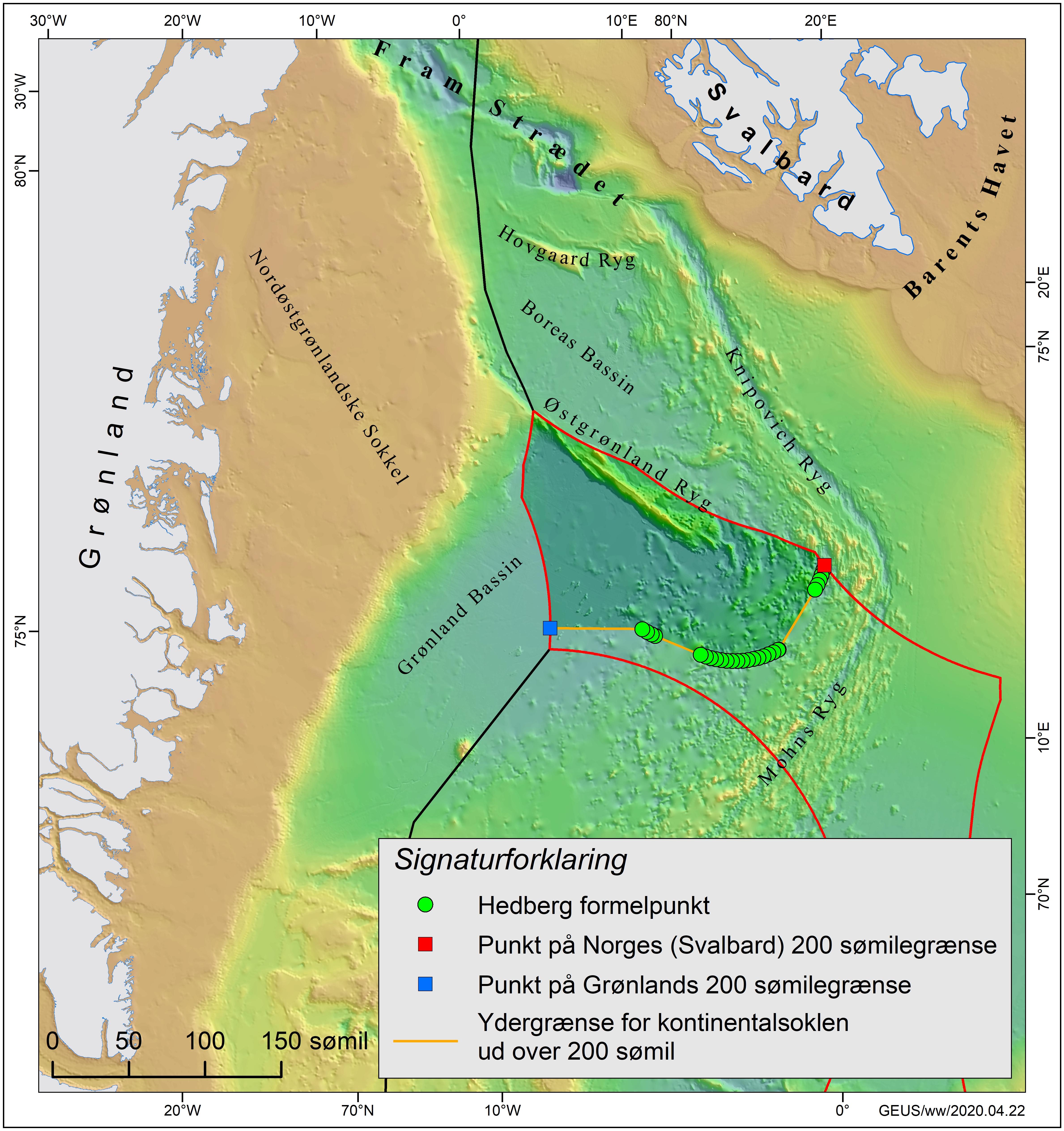 Kort over området nordøst for Grønland