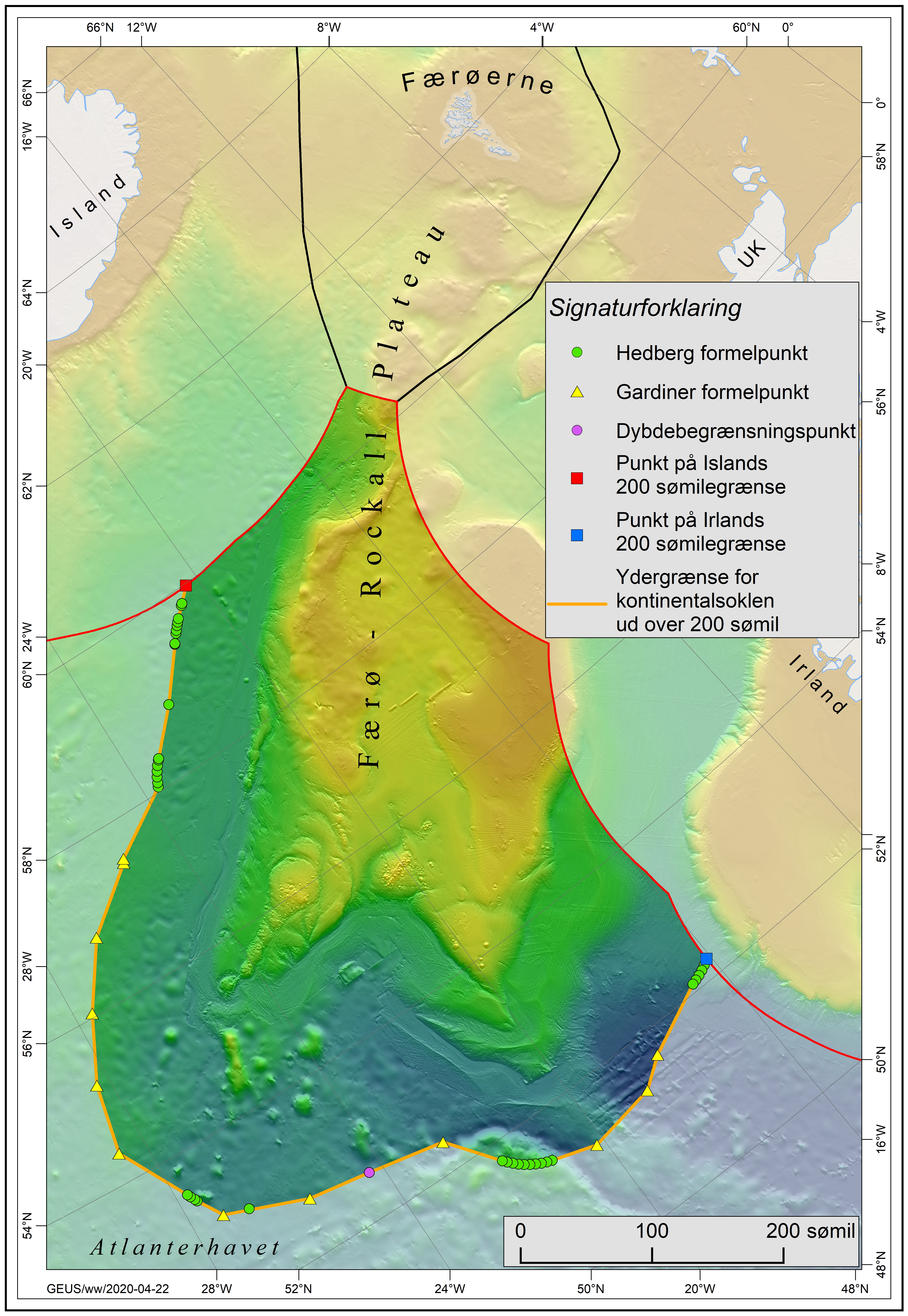 Kort over området syd for Færøerne