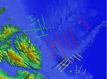 Kort 1 viser de planlagte bathymetriske og gravimetriske profiler i området nord for Grønland.