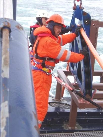 Lars-Georg Rödel og Thomas Vangkilde Pedersen (begge GEUS) i færd med at sætte udstyret i vandet. De står på det åbne dæk helt ude agter iført påkrævet sikkerhedsline og oppustelig redningssvest i tillæg til sikkerhedshjelm og -støvler