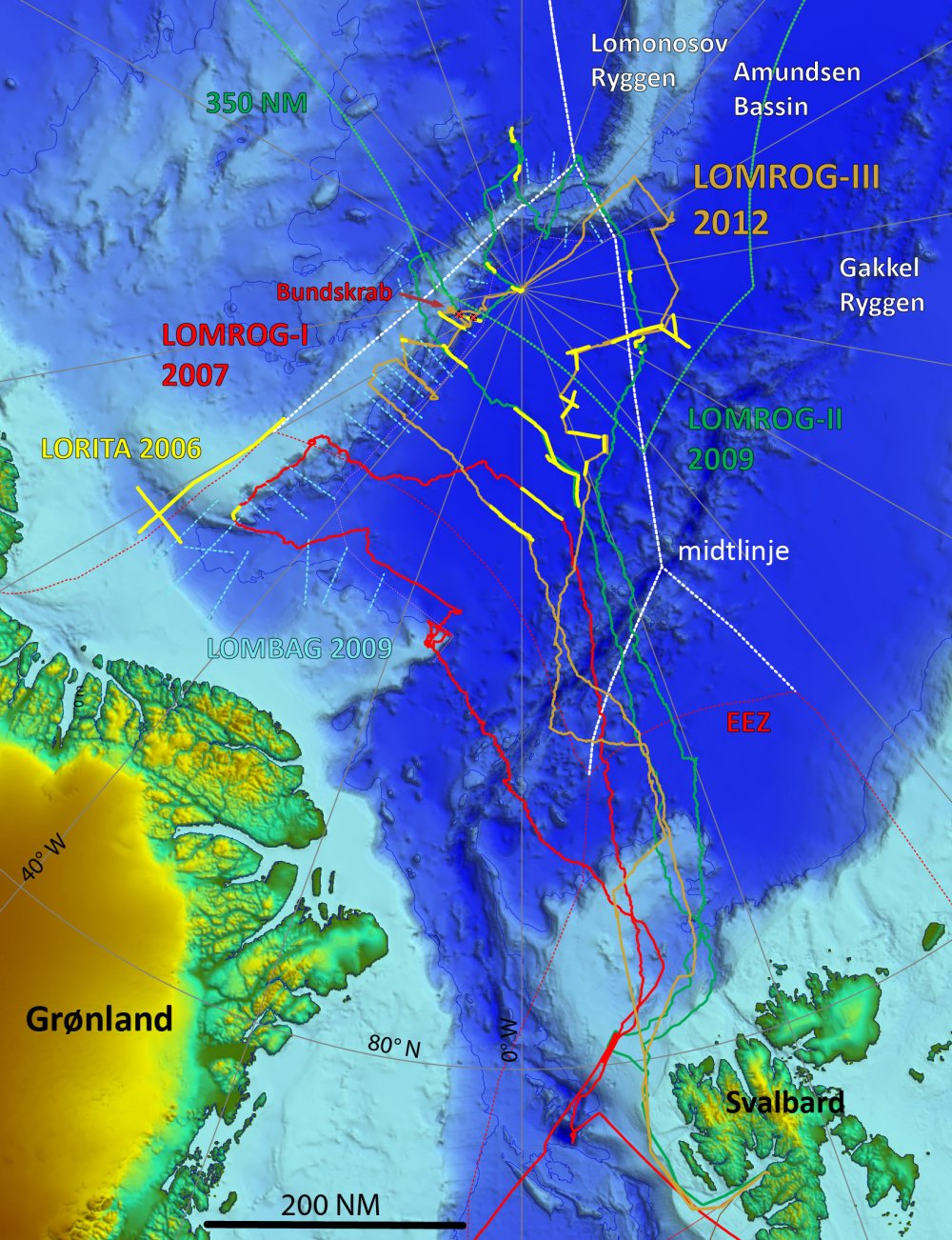 Bathymetrisk kort der viser LOMROG III togtets sejlrute (orange linje) i 2012 samt den øvrige dataindsamling i området nord for Grønland fra 2006 til 2012.