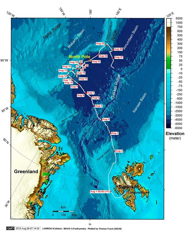 Oden's rute under LOMROG III (Kort: Thomas Funck, GEUS) – senest opdateret 27. august 2012