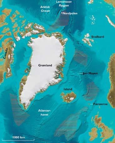 Figur 1. Kort der viser Kontinentalsokkelprojektets fem undersøgelsesområder. De skraverede områder viser ikke de mulige kravområder, men områder hvor data er eller forventes indsamlet.