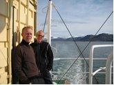 Gorm og Rasmus ved LOMROG-III ekspeditionens afrejse fra Longyearbyen, den 31. juli.