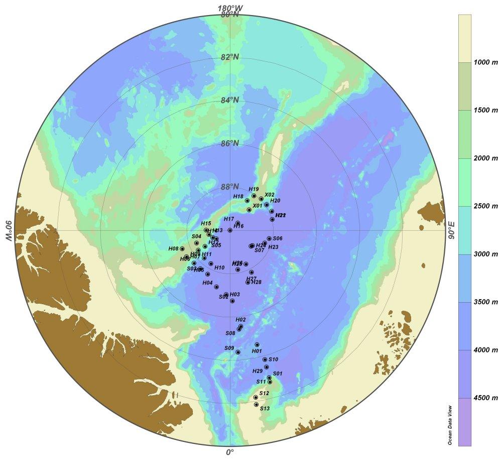 Kort der viser positionen af CTD stationerne under LOMROG III togtet.