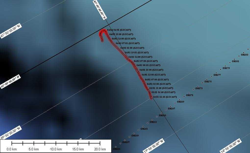 Islejrens drift med isen fra den 31. marts til den 5. april. De første dage bevægede lejren sig hurtig mod vest. Den 4. april ændrede driften retning og stationen drev kortvarigt mod syd. I dag den 5. april driver islejren nu tilbage mod øst.