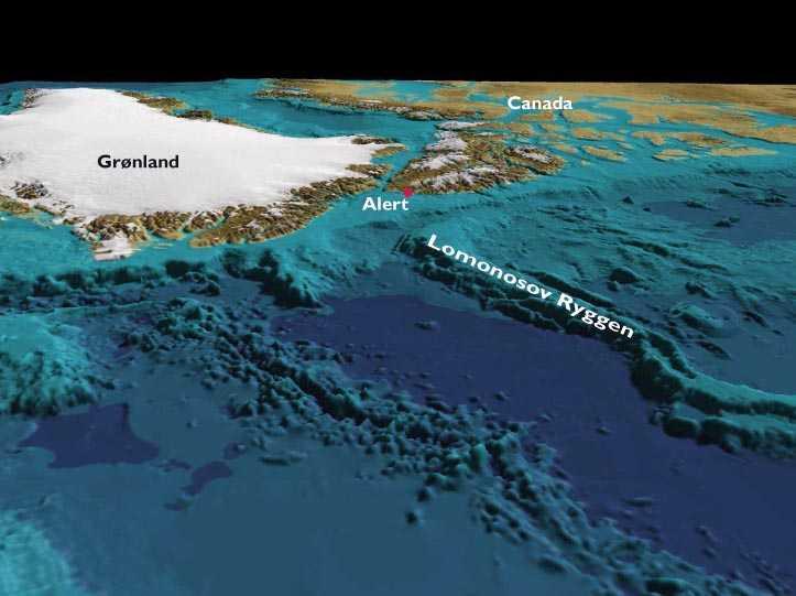Grafik, der viser Grønland og Canada set fra Polhavet. Polhavet er uden vand, og man kan derfor se den meget markante Lomonosov Ryg, der strækker sig ud i Polhavet, fra det sted hvor Grønland og Canada er tættest ved hinanden.