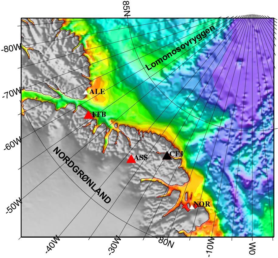 Kort med 3 nye jordskælvsseismiske stationer sat op i Nordgrønland i 2004. FEB: Frankfield Bay; ASS: Aftenstjerne Sø; CFJ: Citronen Fjord. De supplerer de faste jordskælvsseismiske stationer på Station Nord i Grønland (NOR) og på Alert (ALE).