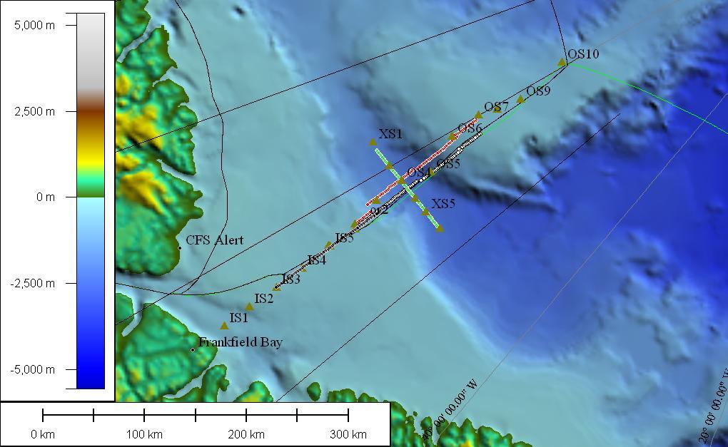 Kort over de tre seismiske linier vi har målt langs.