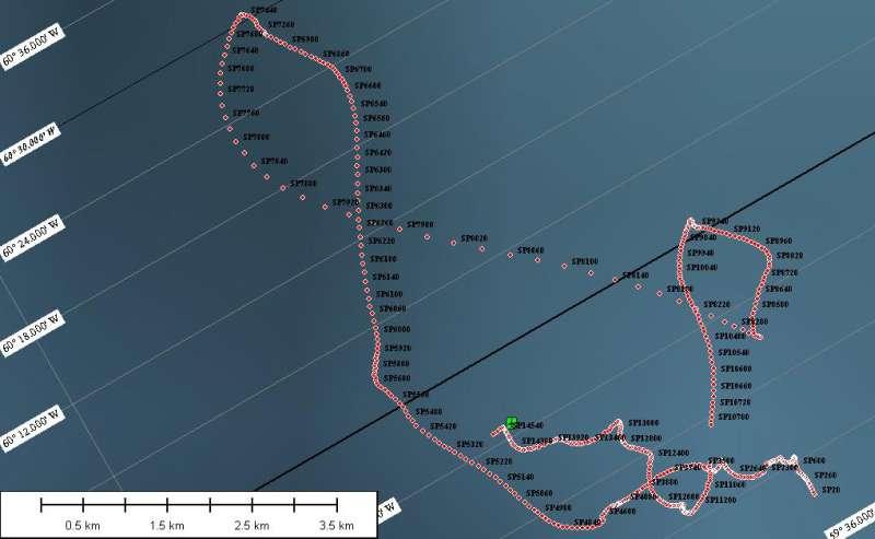 Kort over den rute, hvor vi har data fra den drivende seismiske station. Operatørerne Mike og Greg har ingen kontrol over ruten. De følger bare med isen.