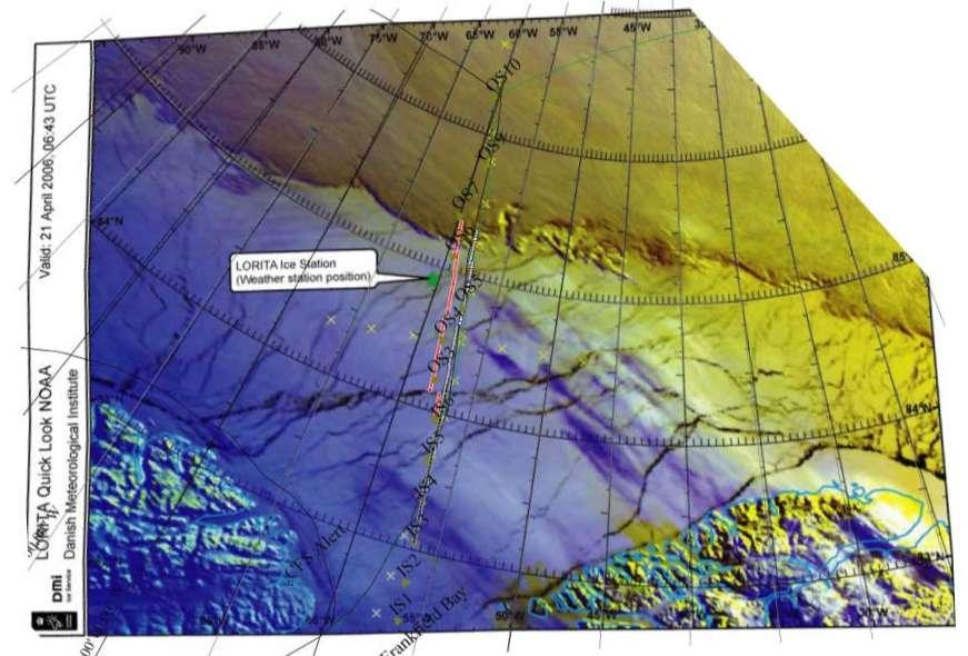 Satellitbilledet viser arbejdsområdet i Polhavet den 21 april.