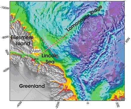 Kort der viser de tre seismiske linier, vi skal måle langs. To linier i forlængelse af hinanden, der strækker sig syd-nord fra Grønlands kyst ud i Polhavet – den såkaldte indre linie – nærmest land og den ydre linie. Dem har vi nu begge fået målt langs. Og en linie på tværs der løber øst-vest, den såkaldte tværlinie, som vi skal i gang med at måle langs.